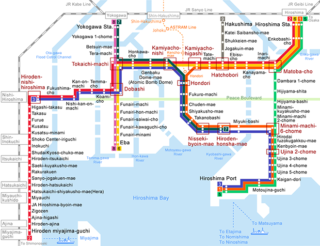 Subway Map 1 Train Route.Hiroshima Electric Railway Service Route Map